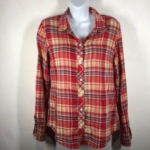 Lucky Brand red plaid top size small